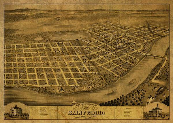 St Mixed Media - St Cloud Minnesota Vintage City Street Map 1869 by Design Turnpike