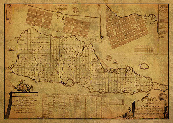 Wall Art - Mixed Media - St Croix Vintage Map 1754 by Design Turnpike