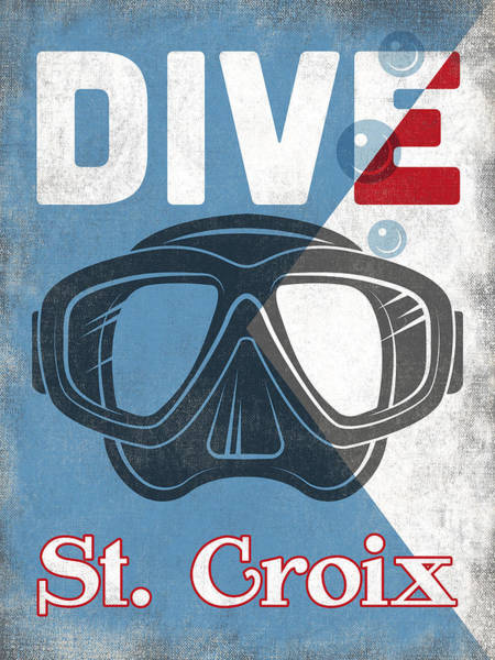 Virgin Digital Art - St Croix Vintage Scuba Diving Mask by Flo Karp