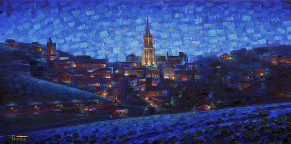 Painting - St. Emilion Art At Night by Rob Buntin