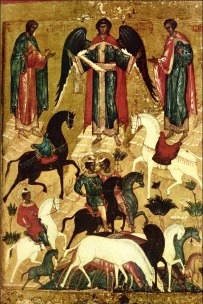 Tretyakov Gallery Painting - St Florus And Laurus by Novgorod School Tretyakov Gallery