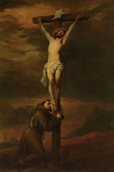 Golgotha Painting - St Francis At The Foot Of The Cross, 1691 by Anthony van Dyck