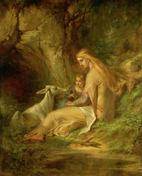 Wall Art - Painting - St. Genevieve Of Brabant In The Forest, 1860 by George Frederick Bensell