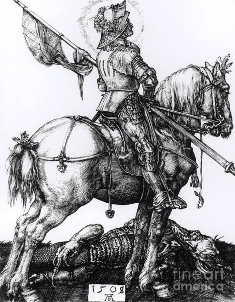 Wall Art - Drawing - St George And The Dragon, 1508  Engraving by Albrecht D�rer Or Duerer