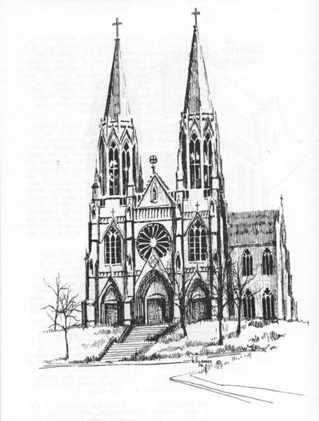 Drawing - St. Helena Cathedral Helena Montana by Kevin Heaney