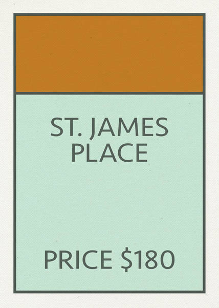 Wall Art - Mixed Media - St James Place Vintage Retro Monopoly Board Game Card by Design Turnpike