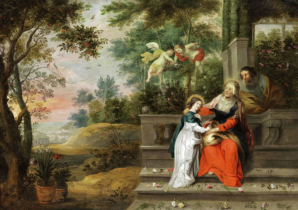 Saint Anne Painting - St. Joachim And St. Anne, Parents Of The Blessed Virgin Mary by Abraham Willemsen