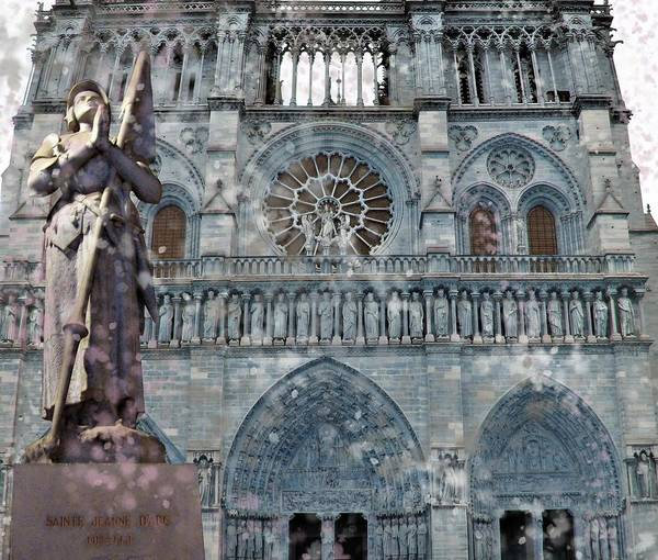 Columns Mixed Media - St Joan Of Arc Watch Over Notre Dame by Joan Stratton