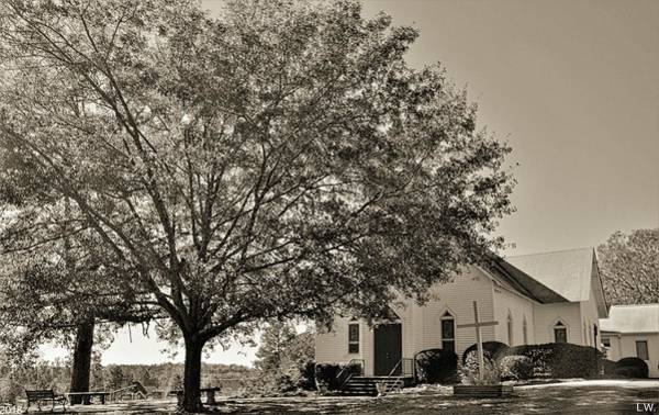 Photograph - St. John Lutheran Church And Cemetery Irmo South Carolina Black And White by Lisa Wooten