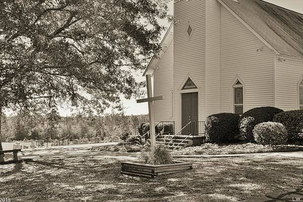 Photograph - St. John Lutheran Church Irmo South Carolina Black And White 3 by Lisa Wooten