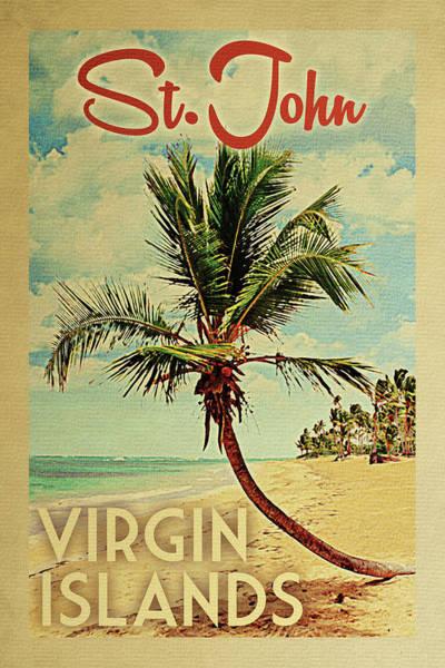 Wall Art - Digital Art - St John Virgin Islands Palm Tree by Flo Karp