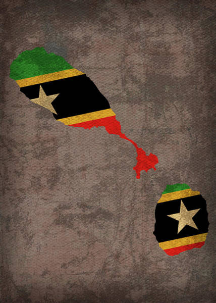 St Mixed Media - St Kitts And Nevis Country Flag Map by Design Turnpike
