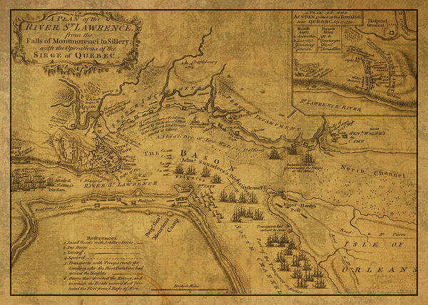 Wall Art - Mixed Media - St Lawrence River Quebec Vintage Map 1759 by Design Turnpike