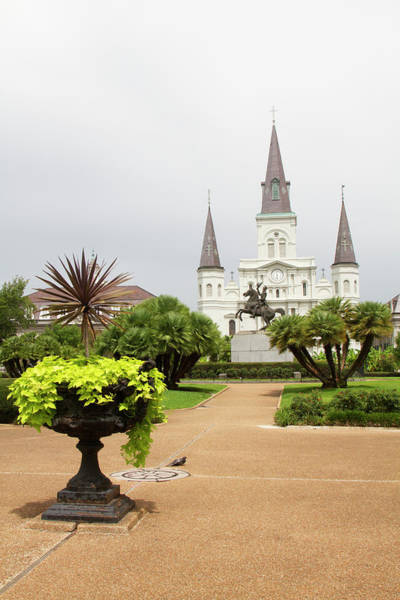 Louisiana Photograph - St Louis Cathedral And Statue Of Andrew by Danita Delimont