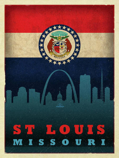 St Mixed Media - St Louis City Skyline State Flag Of Missouri by Design Turnpike