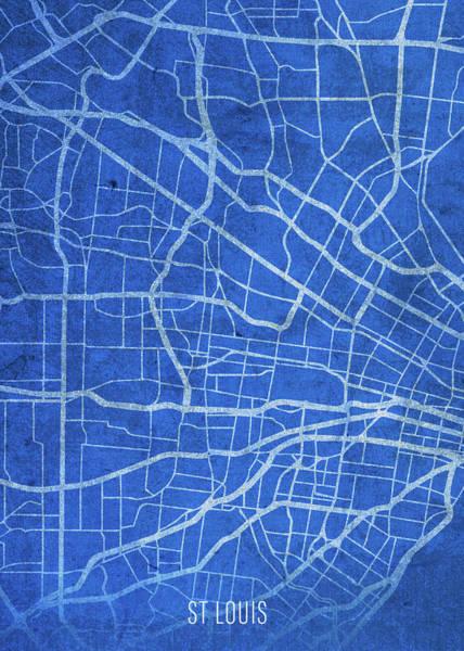 Wall Art - Mixed Media - St Louis Missouri City Street Map Blueprint by Design Turnpike