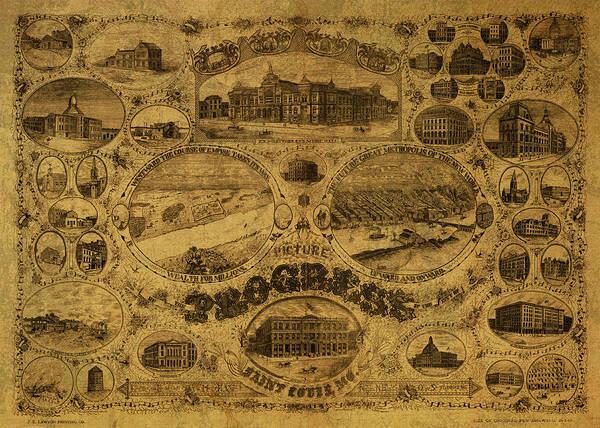 St Mixed Media - St Louis Missouri Progress Vintage City Street Map 1884 by Design Turnpike