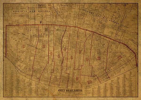 St Mixed Media - St Louis Missouri Vintage City Street Map 1870 by Design Turnpike