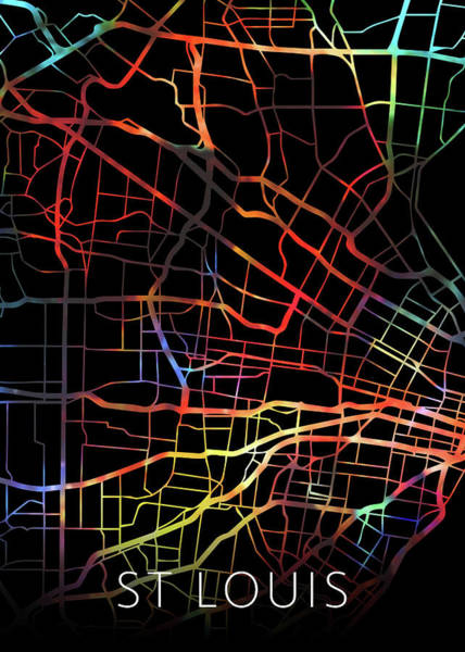 St Mixed Media - St Louis Missouri Watercolor City Street Map Dark Mode by Design Turnpike