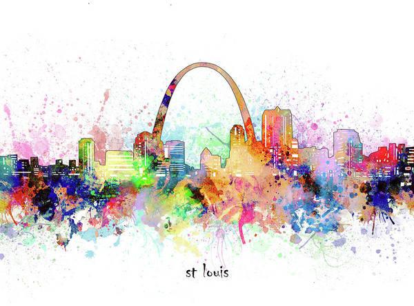 Wall Art - Digital Art - St Louis Skyline Artistic by Bekim M