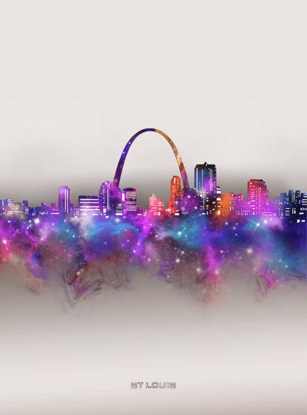 Wall Art - Digital Art - St Louis Skyline Galaxy by Bekim M