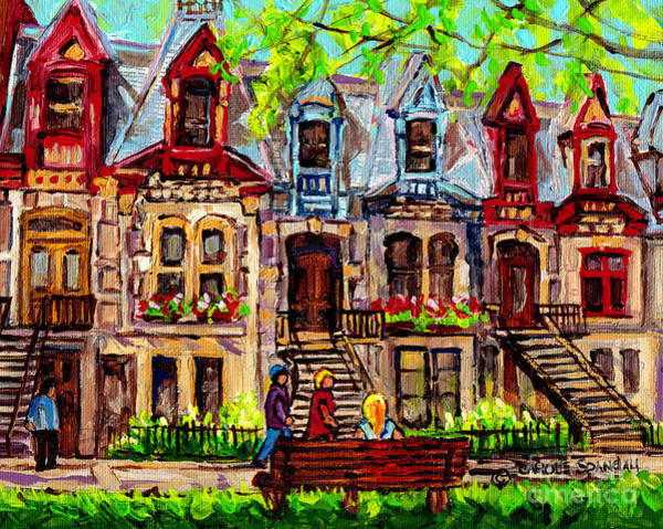 Painting - St Louis Square Park City Scene Painting Beautiful Rowhouses Blonde Girl On The Bench C Spandau Art by Carole Spandau