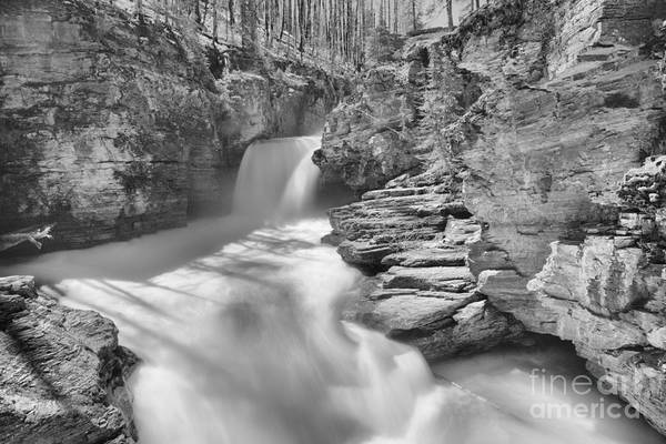 Photograph - St. Mary Falls Spring 2019 Black And White by Adam Jewell
