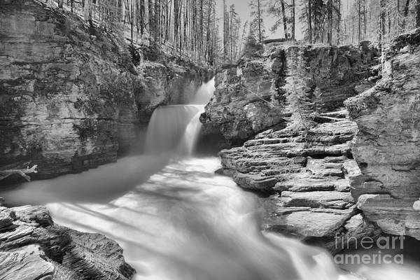 Photograph - St. Mary Falls Spring 2019 Landscape Black And White by Adam Jewell