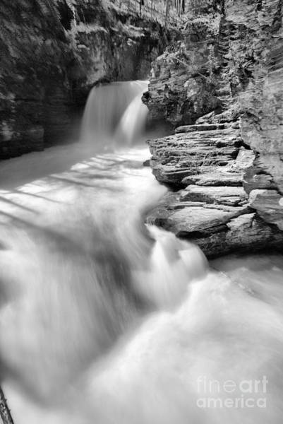 Photograph - St. Mary Falls Spring Portrait Black And White by Adam Jewell