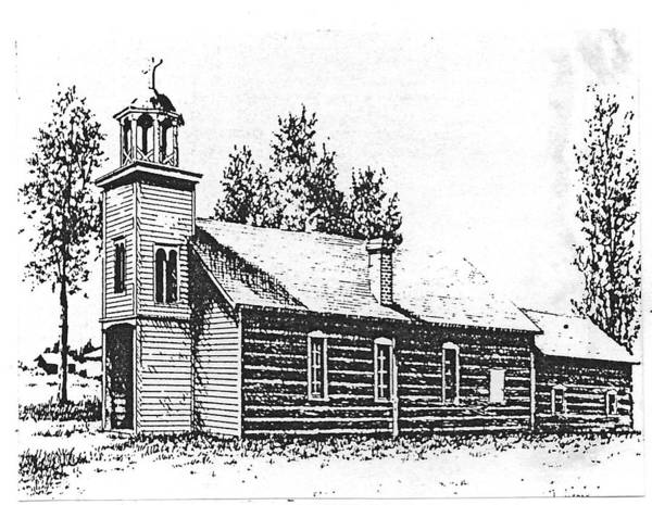 Drawing - St. Mary's Mission, Stevensville, Montana by Kevin Heaney