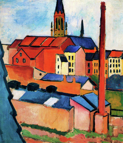 Wall Art - Painting - St. Mary's With Houses And Chimney - Digital Remastered Edition by August Macke