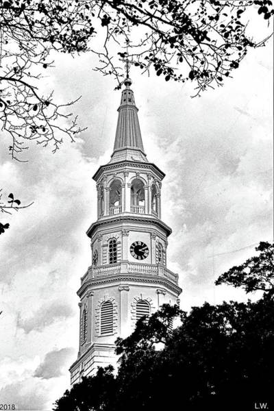 Photograph - St. Michael Episcopal Church Steeple Black And White by Lisa Wooten