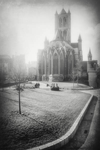 Gent Wall Art - Photograph - St Nicholas Church Ghent Belgium Black And White by Carol Japp