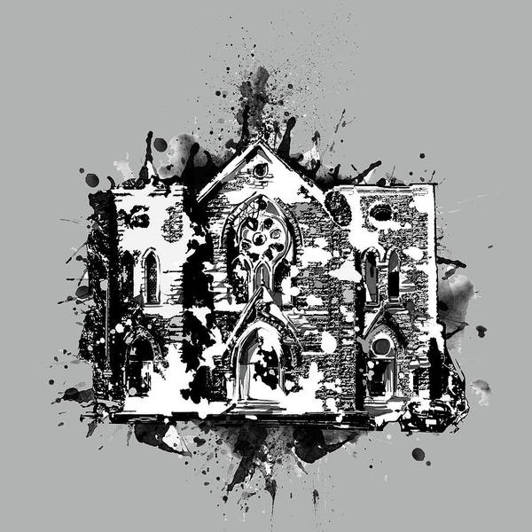 Church Digital Art - St Patrick Cathedral Fort Worth Grey by Bekim Art