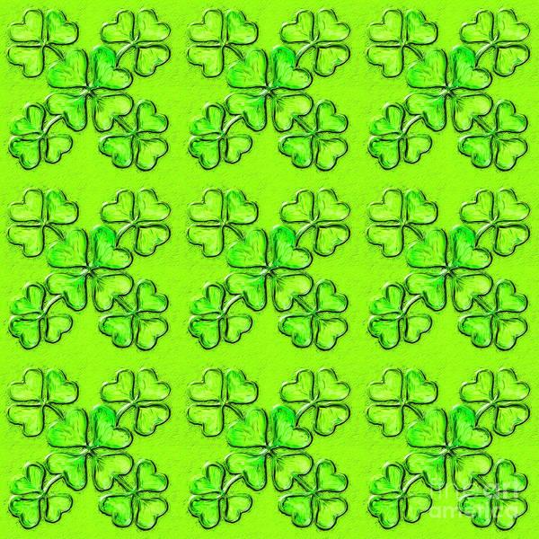 Mixed Media - St. Patrick's Day Shamrock. Glass Effect by Irina Dobrotsvet