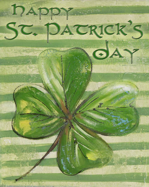 Wall Art - Mixed Media - St. Patrick's Four Leaf Clover by Patricia Pinto
