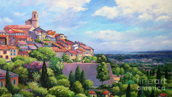 Campagne Painting - St. Paul De Vence Panoramic by John Clark