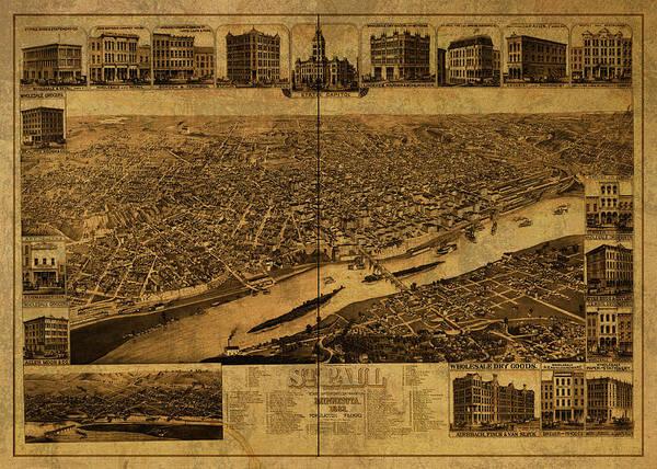 St Mixed Media - St Paul Minnesota Vintage City Street Map 1883 by Design Turnpike