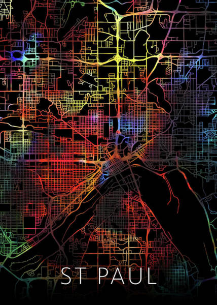St Mixed Media - St Paul Minnesota Watercolor City Street Map Dark Mode by Design Turnpike