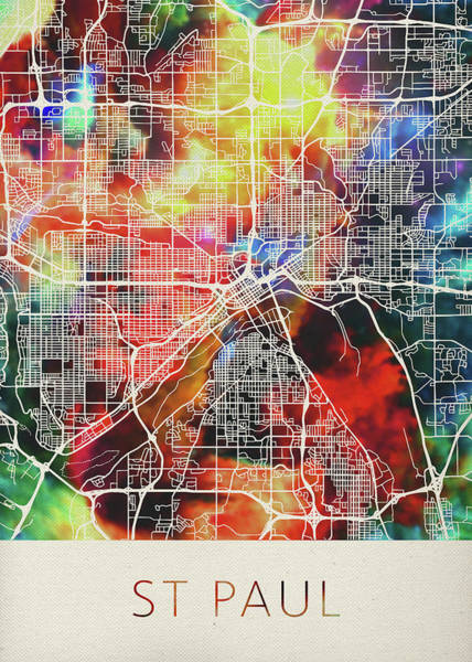 St Mixed Media - St Paul Minnesota Watercolor City Street Map by Design Turnpike