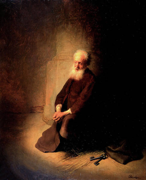 Painting - St. Peter In Prison - The Apostle Peter Kneeling by Rembrandt