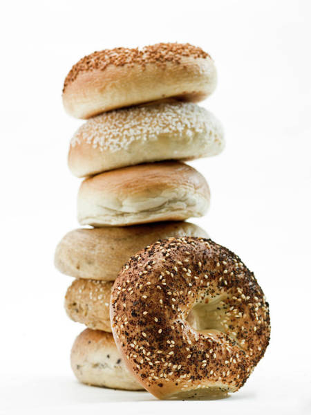 Buns Photograph - Stack Of Assorted Bagels by Juanmonino