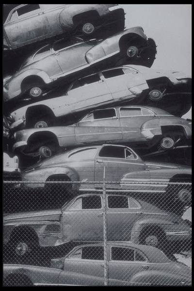 Excess Photograph - Stack Of Cars At A Wrecking Yard, Circa by Archive Holdings Inc.