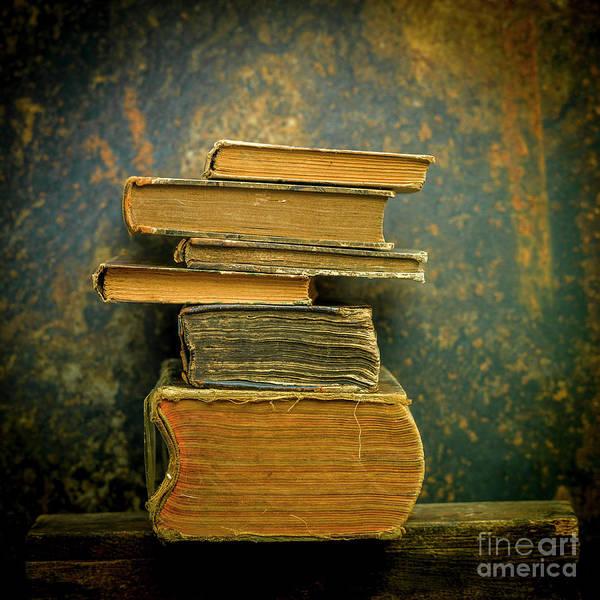 Wall Art - Photograph -  Stack Of Old Books, Studio Shot by Bernard Jaubert