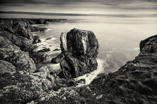 Art Print featuring the photograph Stack Rocks - Black And White by Elliott Coleman
