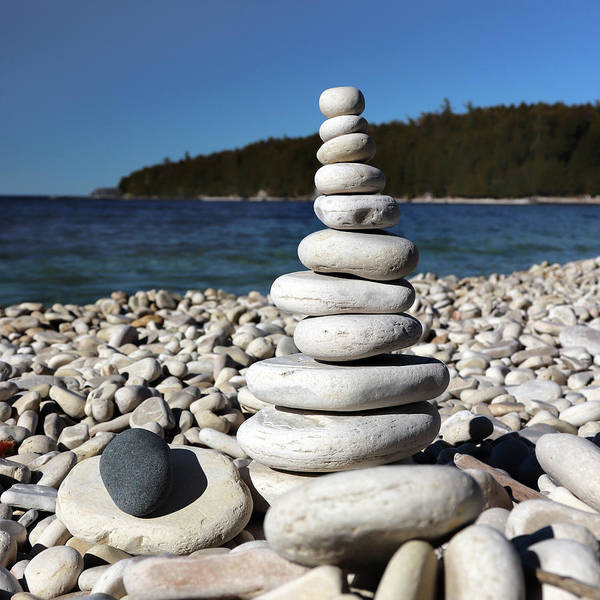 Photograph - Stacked Stones At Pebble Beach Square by David T Wilkinson