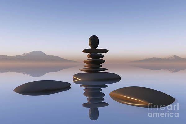 Wall Art - Photograph - Stacked Stones In Pond by Aleksey Tugolukov
