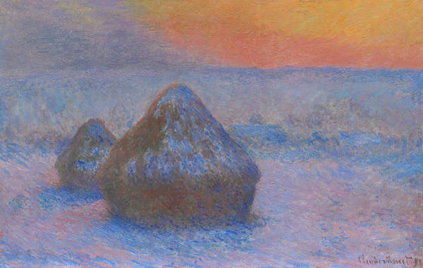 Wall Art - Painting - Stacks Of Wheat - Sunset, Snow Effect, 1891 by Claude Monet