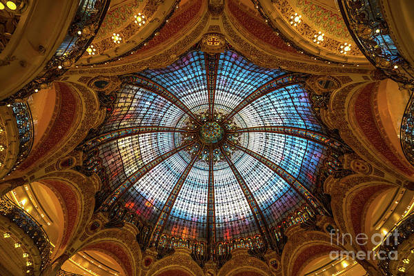 Wall Art - Photograph - Stained Glass Ceiling Of Printemps Paris by Mike Reid