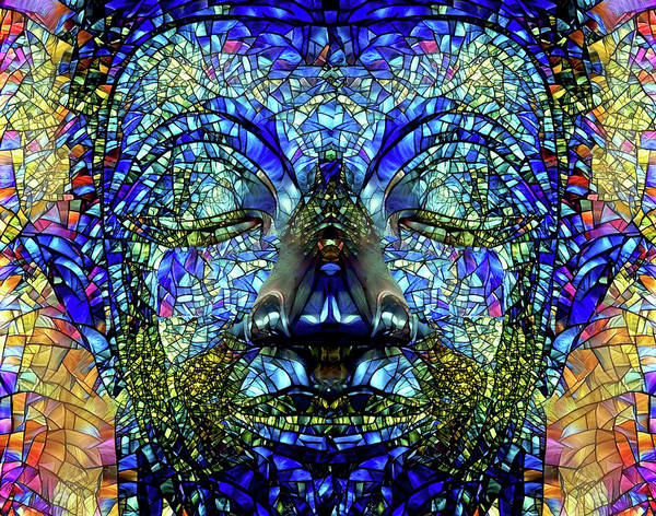 Digital Art - Stained Glass Colorful Buddha Art by Peggy Collins